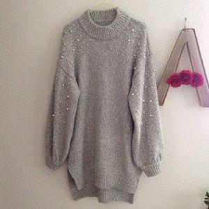 Chicwish Pearl beaded sweater dress